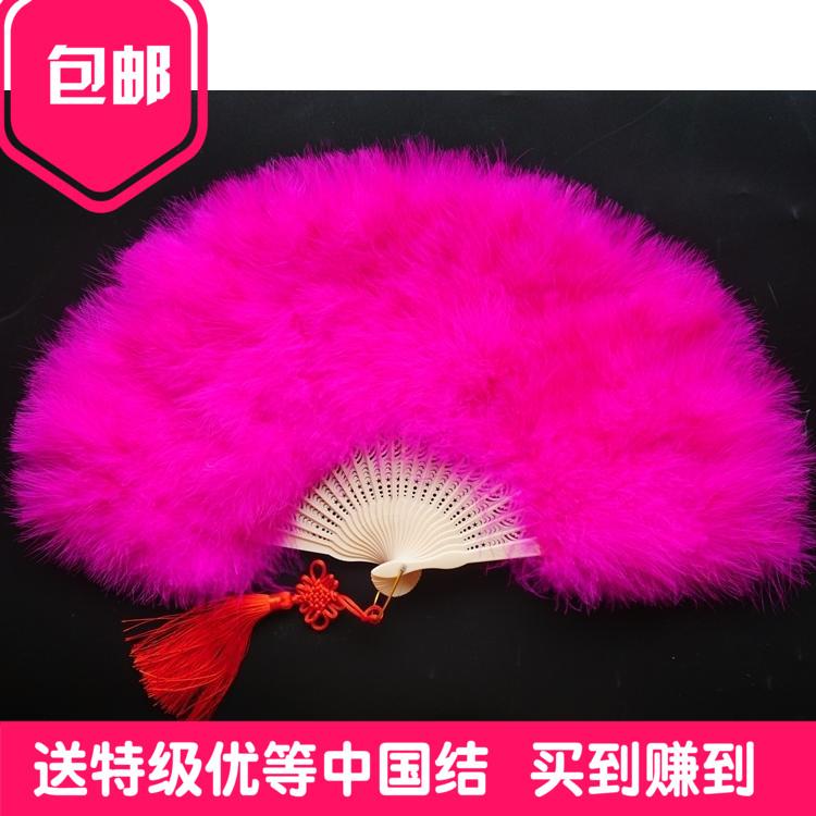 Бесплатная доставка бутик весь бархат плотный подклад перьевой вентилятор cheongsam переходный мостик танец вентилятор этап перо 50*30cm