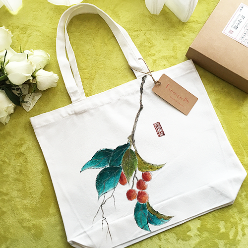 Hand painted persempre18 flower color pigment hand painted custom cotton canvas bag