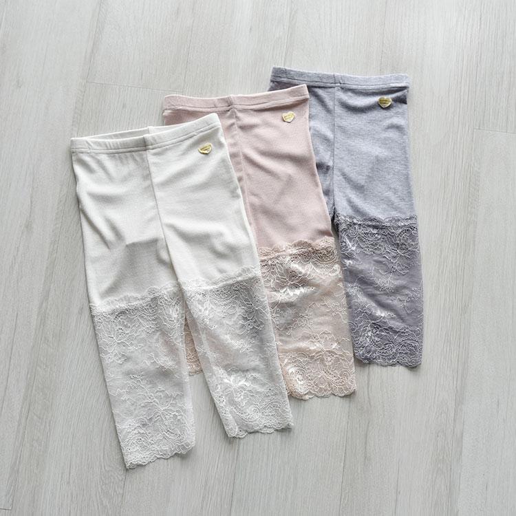 韩单女童打底裤外穿2020夏季洋气七分裤纯色拼接蕾丝薄中裤