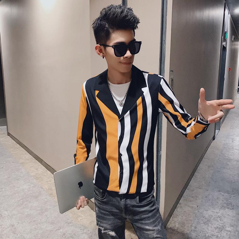 2019秋季新款男士长袖衬衫个性休闲条纹衬衣修身西装领   A57-P55