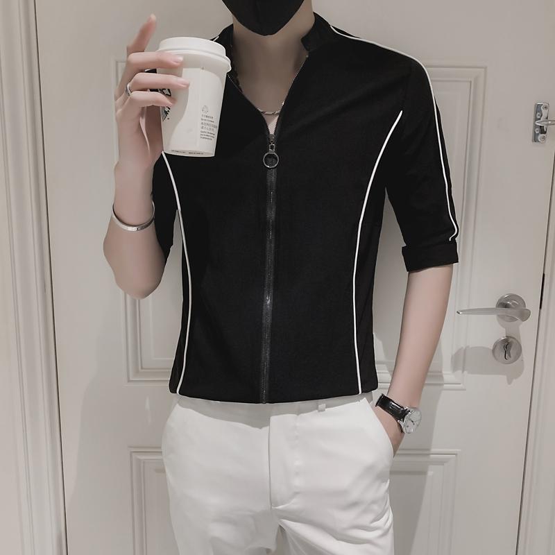 衬衫男韩版潮流修身中袖男装网红七分袖衬衣        A102-P50