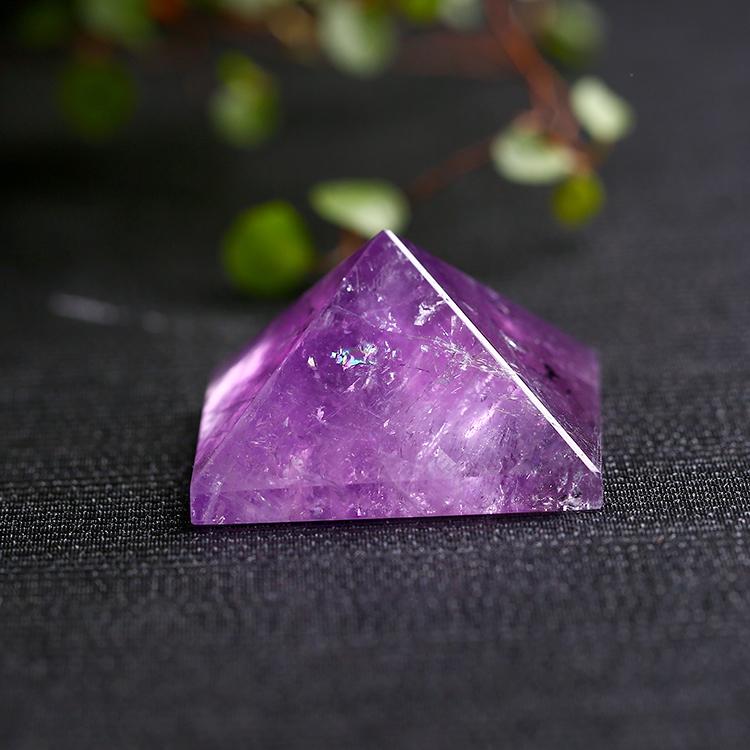 天然紫水晶金字塔金字塔摆件居家摆件能量发生器灵修供佛冥想疗愈