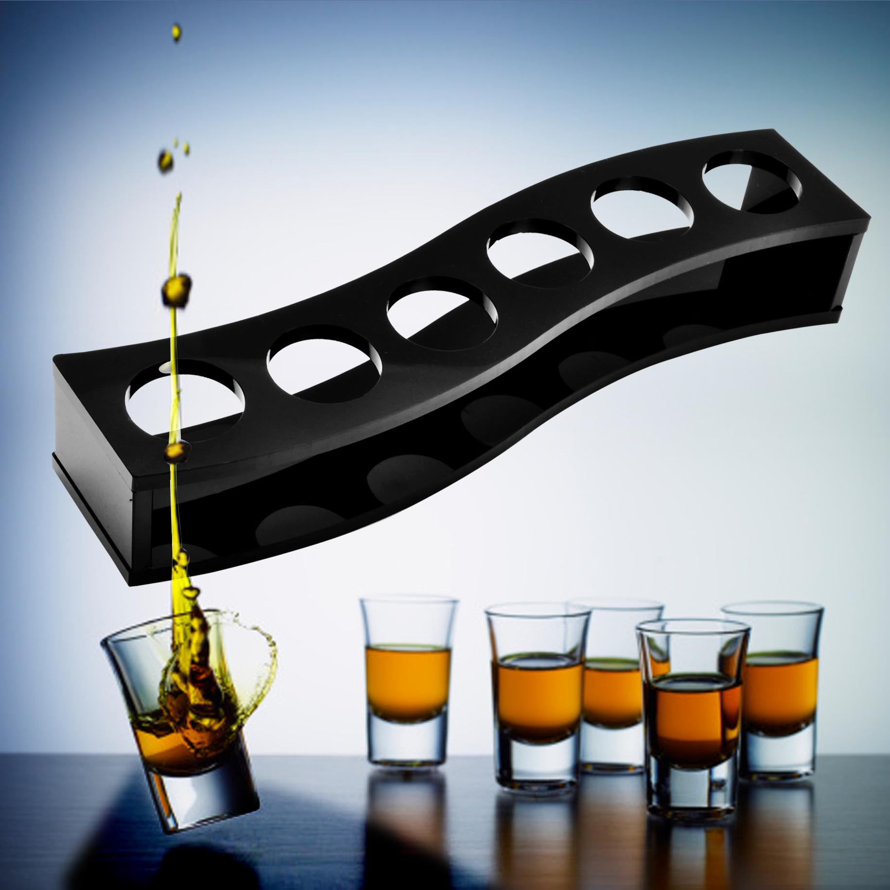 子彈杯雞尾酒杯6隻吞杯 木杯架套裝小烈酒杯玻璃杯白酒一口杯包郵
