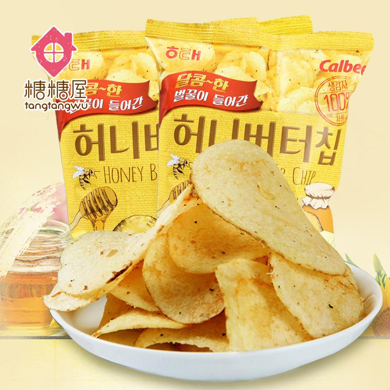 【糖糖屋】韩国进口零食品 海太蜂蜜黄油薯片60g*2袋 土豆脆片