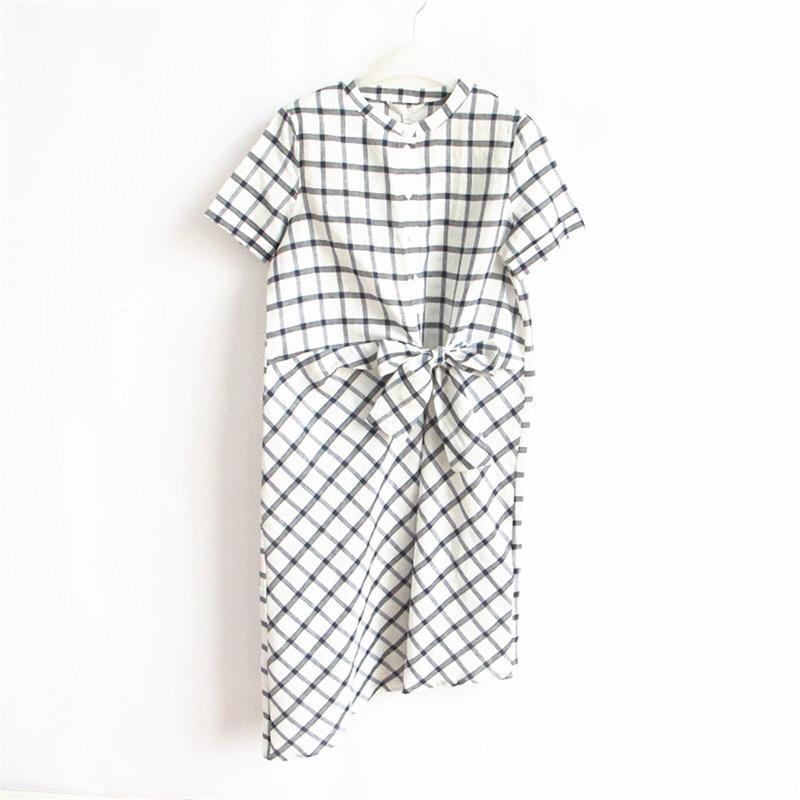 品牌断码夏季亚麻加棉质不规则黑白格子系带新款小众长连衣裙