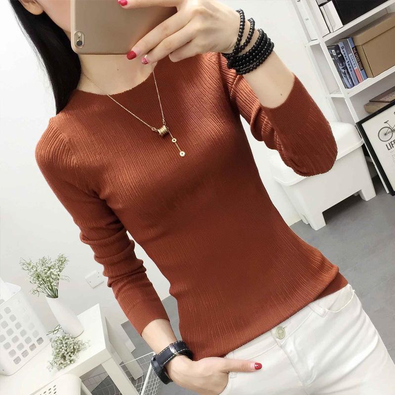 秋冬新款低圆领薄款打底衫纯色套头毛衣时尚针织衫长袖女春装薄