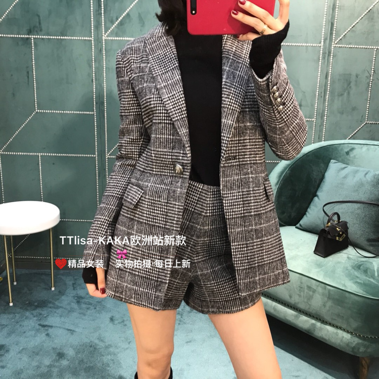 Kaka high end custom fit and slim in autumn and winter Wool Plaid Lapel suit coat + wool shorts suit