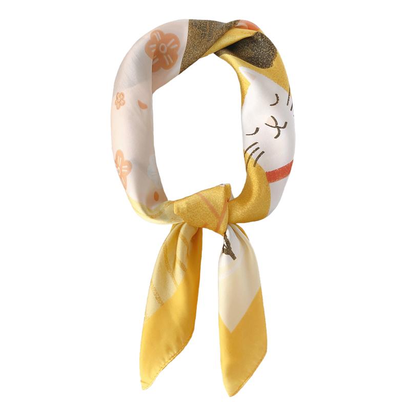 chic韩国新款小丝巾可爱猫咪小方巾春夏秋款百搭仿真丝装饰小领巾
