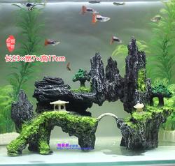 鱼缸造景装饰假山石头草布景仿真水草造景套餐水族箱大小摆件包邮