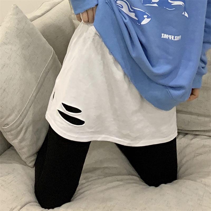 中國代購|中國批發-ibuy99|短裙|短裙内搭叠穿纯棉卫衣打底神器小屁帘下摆开叉破洞半身裙2021秋冬