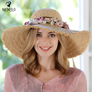 In the summer the seashore takes vacation the fragments to pull the Philippine straw hat female garland straw hat dome to be possible to fold the sola topi big eave against to expose to the sun the hat
