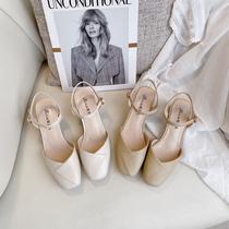 鞋夫人方头一字带包头凉鞋女2020年夏季新款韩版女鞋粗跟高跟鞋子
