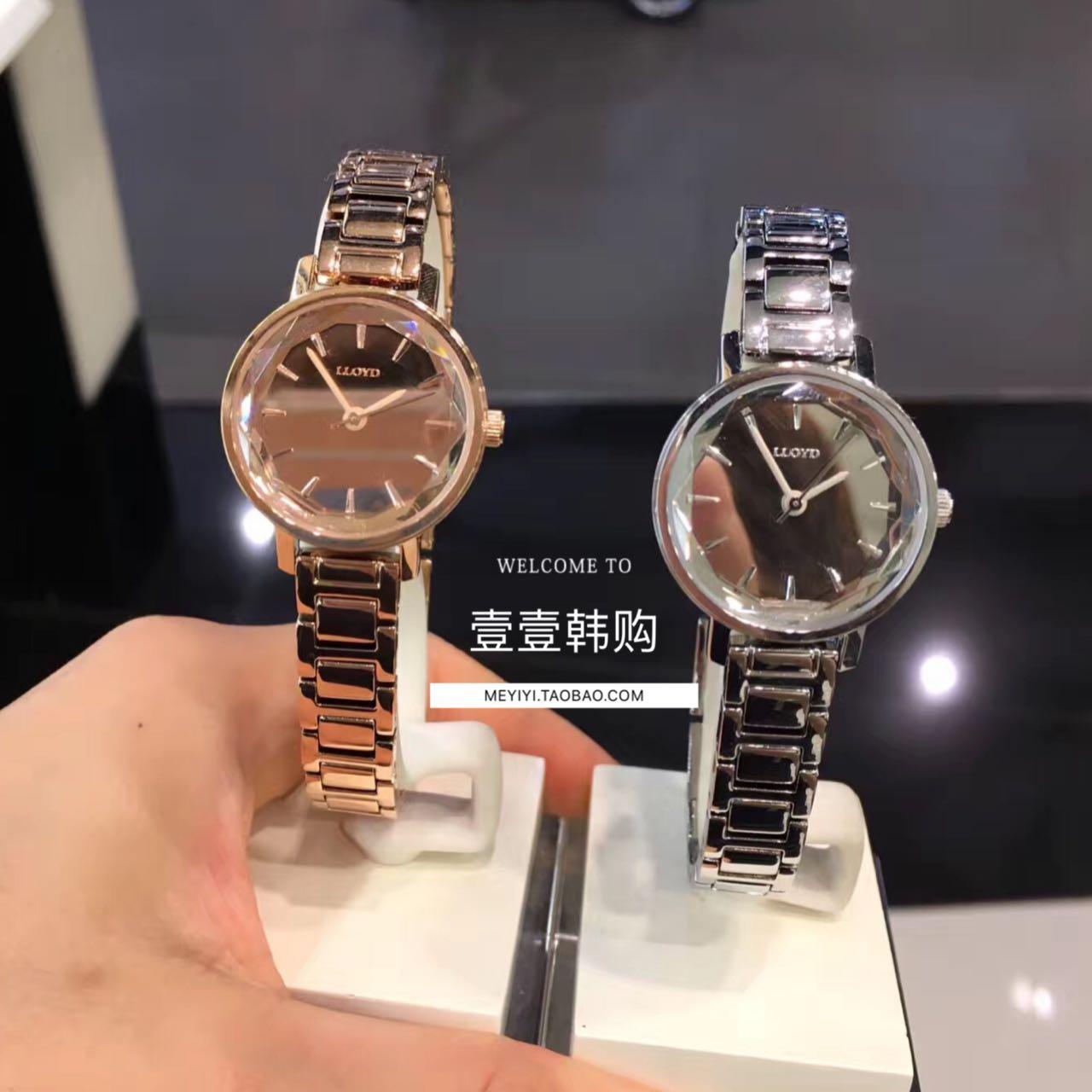 新款LLOYD韩国专柜正品代购 钢链手表镜面气质石英女表玫瑰金包邮