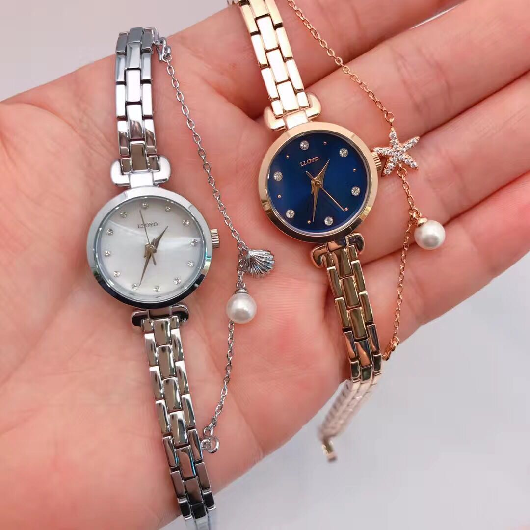 LLOYD韩国专柜正品 带钻钢链女表珍珠贝壳星星小盘手表石英表简约