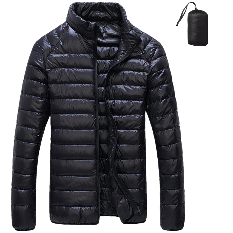 Super light down jacket mens stand collar slim fit short mens clothing Korean fashion warm coat youth white duck down jacket