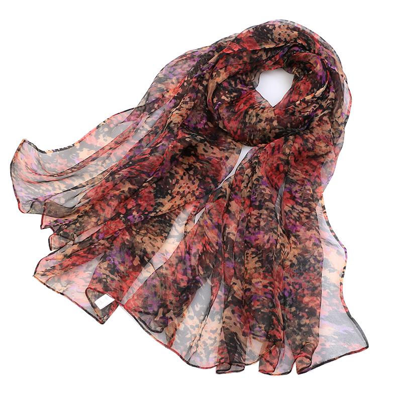 2021春季新款丝巾女长款蚕丝印花时尚洋气中老年真丝围巾薄款纱巾