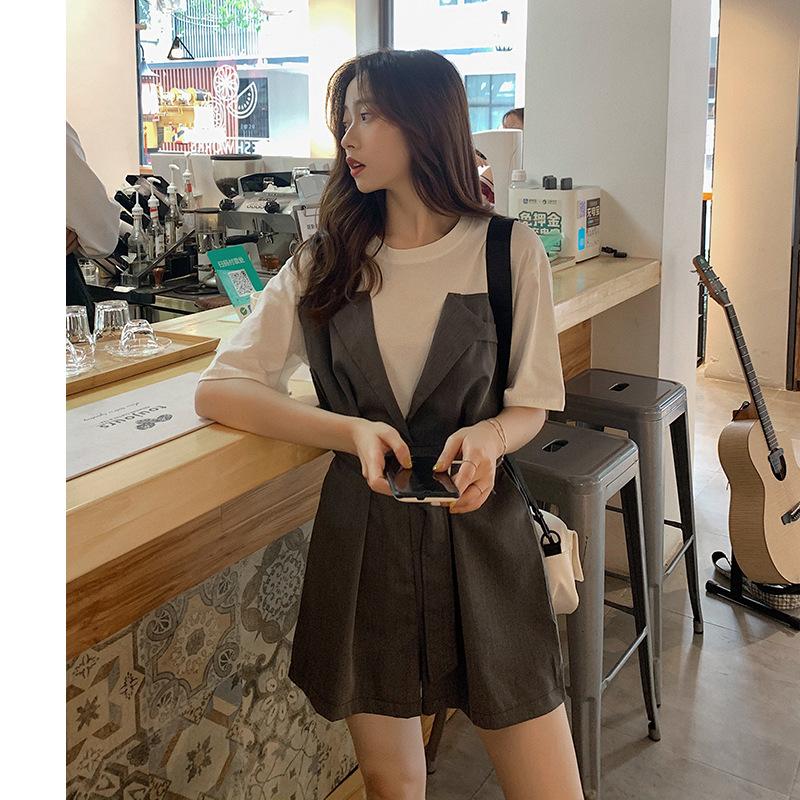 抹胸式假两件韩版连体裤女2020新款显瘦休闲短裤B1288