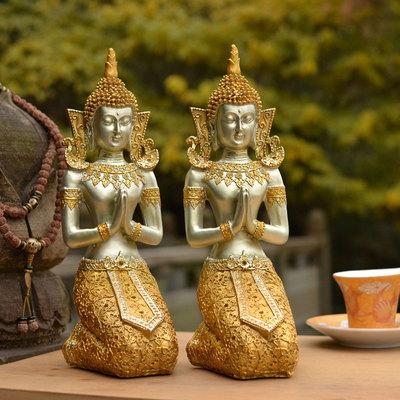 创意复古镇宅东南亚跪佛像摆件泰国