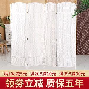 中式草编屏风家居客厅酒店美容手工折叠隔断移动折屏时尚简约屏风