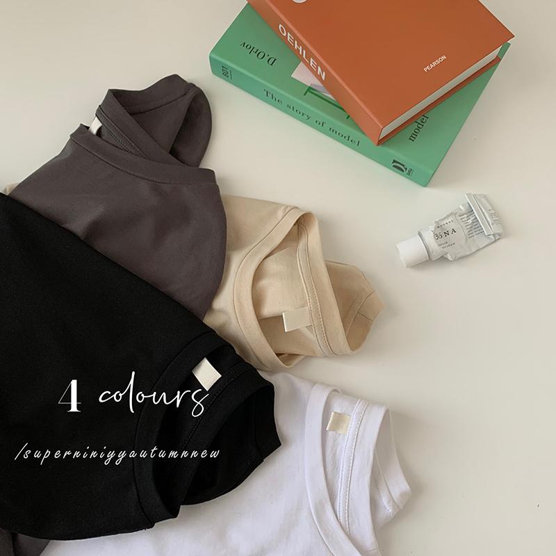 superniniyy 软糯纯棉质感 基础版纯色宽松短袖圆领t恤打底衫女