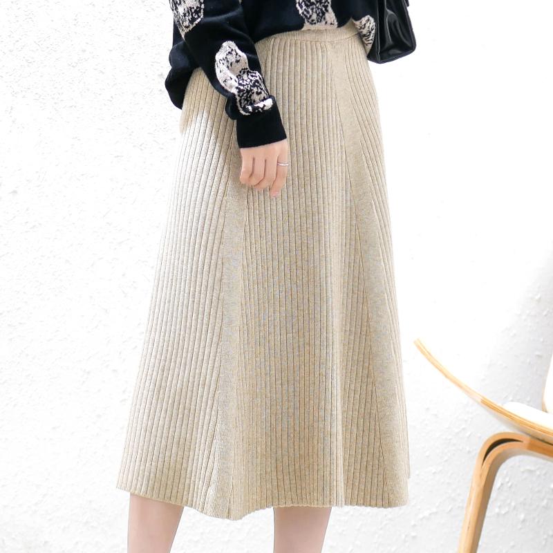 秋冬针织半身裙女装新款高腰遮胯显瘦大摆A字加厚中长羊毛线裙子