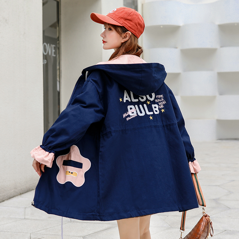 Womens jacket cardigan 2020 new autumn dress womens Korean version loose age reduction funny pattern fashion embroidery Hoodie