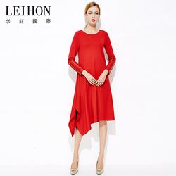 LEIHON/李红国际秋冬季新款妈妈装大码大红色不规则连衣裙W37074
