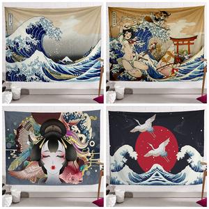 和风浮世绘墙布海浪挂布ins装饰画