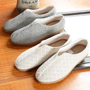 2021新款亚麻鞋子软底男生夏季懒人鞋一脚蹬透气布鞋复古国风男鞋