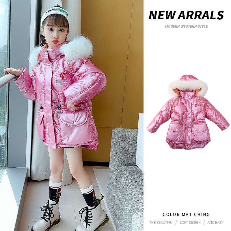 [winter style] New Korean fashion hooded womens thickened cotton liner zipper shirt high collar childrens clothing package