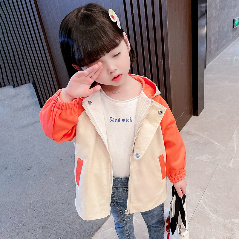 [childrens autumn style] 2021 childrens Korean womens round neck hooded spring and autumn zipper shirt new personality