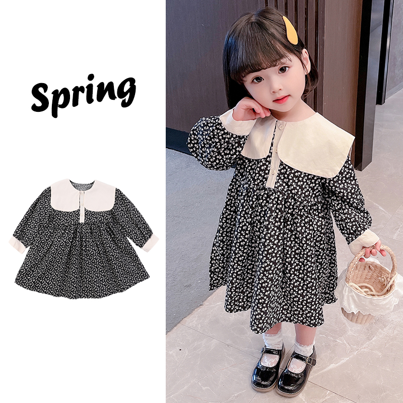 2021 new spring dress baby girl fresh floral long sleeve dress childrens 3 sweet dress 4 years old