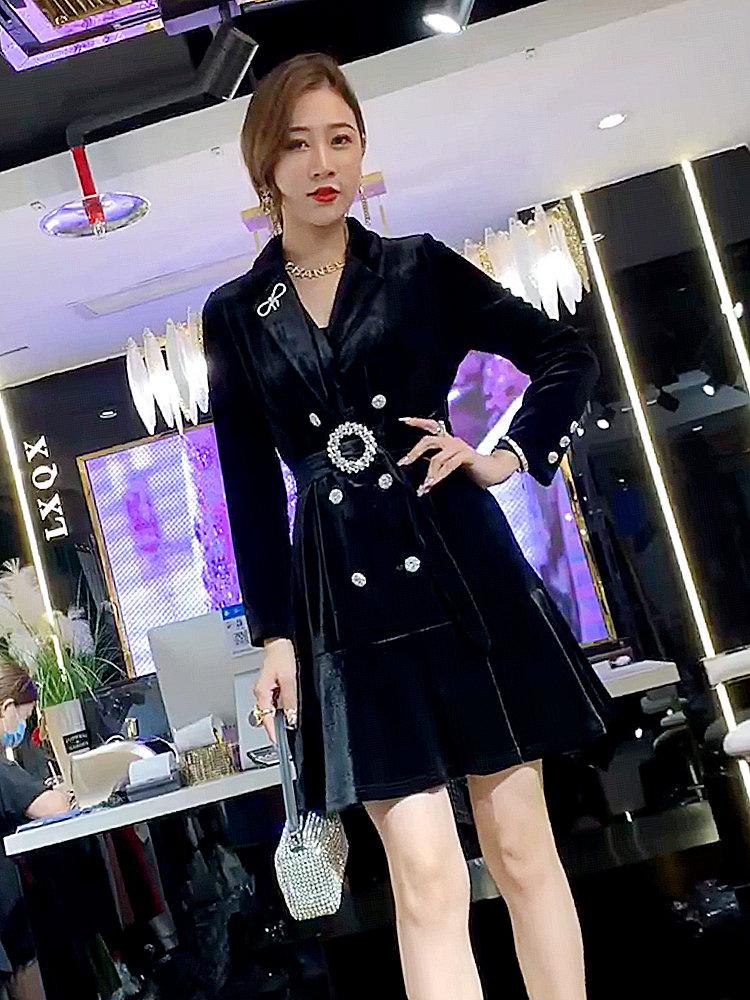 韩版淑女裙2021秋季新款高定款西装领钉钻腰带丝绒双排扣连衣裙女