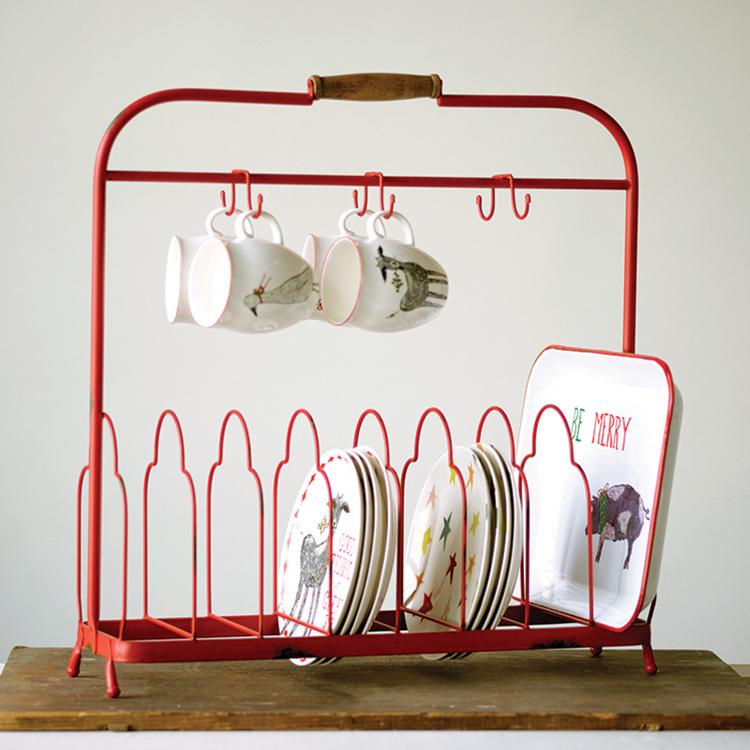 可立特复古创意家用马克杯咖啡杯挂钩沥水架餐具托盘杂货收纳书架