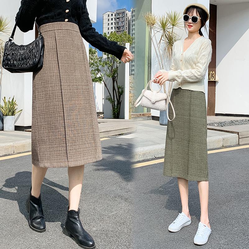 Real 8097 ? plaid skirt autumn and winter womens long split buttock skirt showing thin A-line skirt tweed long skirt