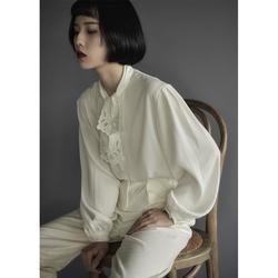然而和风 剪纸镂空衬衣女 法式复古绣花白衬衫宫廷灯笼袖原创设计