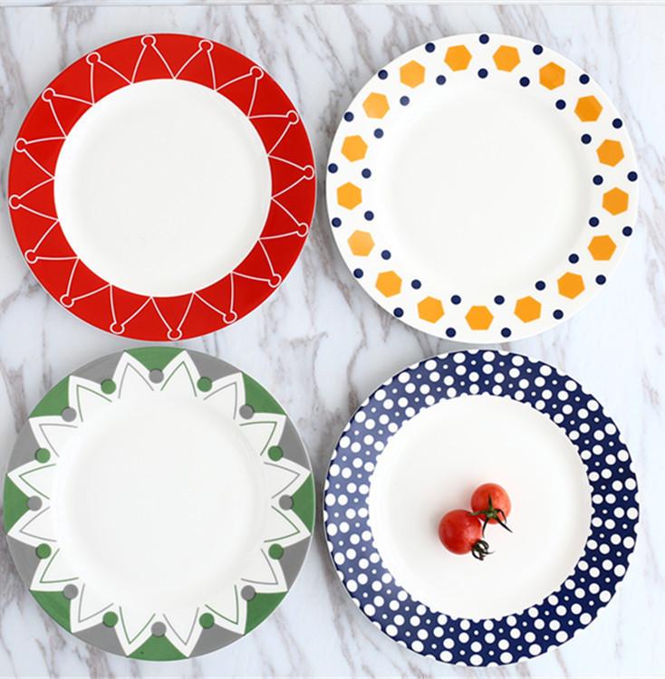 家用创意陶瓷餐具菜盘点心水果盘早餐盘牛排盘西餐盘子8英寸平盘