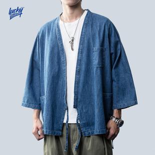 LuckySartorius 19A/W日系和服外套简约夹克浅色牛仔水洗道袍上衣