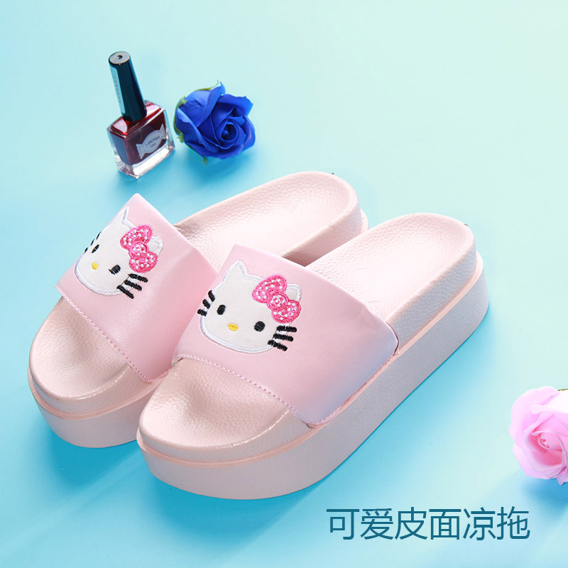 New high heeled leather slippers xiasong cake with cute cartoon cat floor
