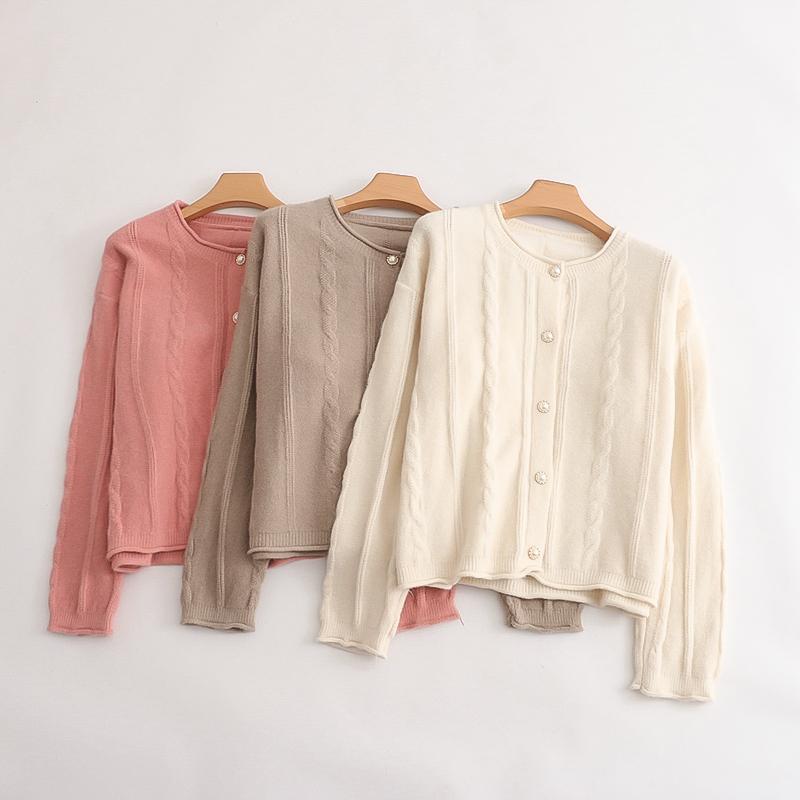 【精品】C78/D36女士针织衫秋季女装甜美长袖单排扣麻花毛衣开始