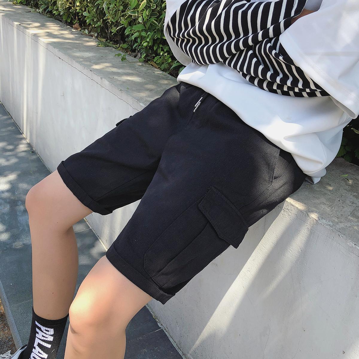 夏季林弯弯LES帅T韩版潮牌工装休闲短裤潮流纯色原宿男五分裤