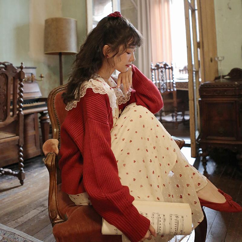 梅子熟了 文艺复古纯色V领红色宽松上衣开衫外套女针织2020春新款 thumbnail