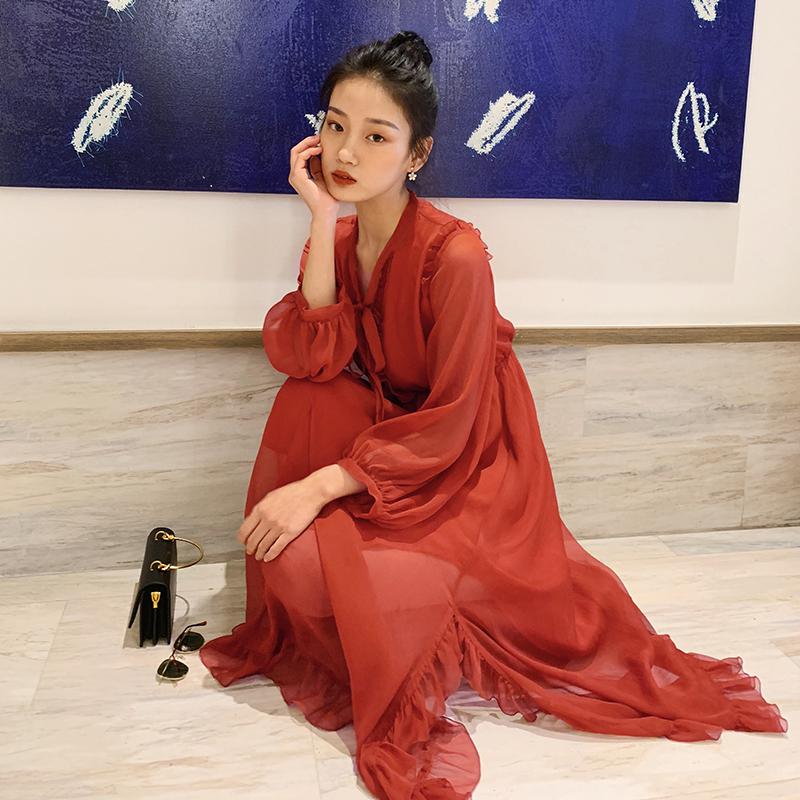 梅子熟了红色雪纺连衣裙很仙的法国小众桔梗裙复古超仙女裙长袖夏