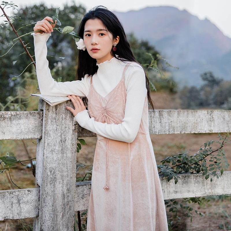 Слива спелый были ретро марля бархат юбка берегись машинально длина платье женщина 2018 новая весна модель
