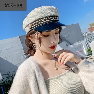 韩版帽子女秋冬季拼接金丝面料八角帽平帽海军帽时尚搭鸭舌帽百搭
