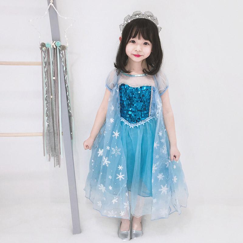 冰雪奇緣愛莎公主裙女童夏裝洋氣女寶寶演出服藍色網紗兒童連衣裙