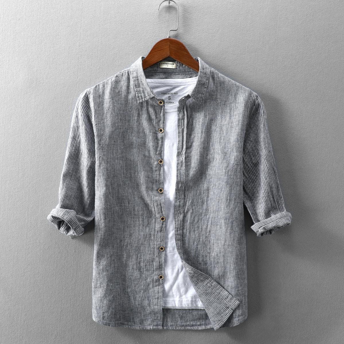 2020新款夏季男士休闲亚麻衬衫七分袖翻领条纹棉麻宽松薄款男衬衣图片