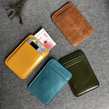 Men's Mini carry on ultra thin leather small card bag women's head leather bank credit card clip simple card bag