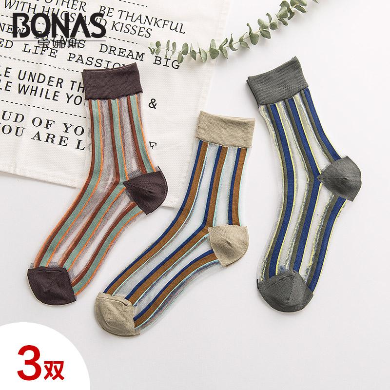 3双宝娜斯春夏复古清透玻璃丝短袜时尚竖条纹中筒袜卡丝薄款女袜
