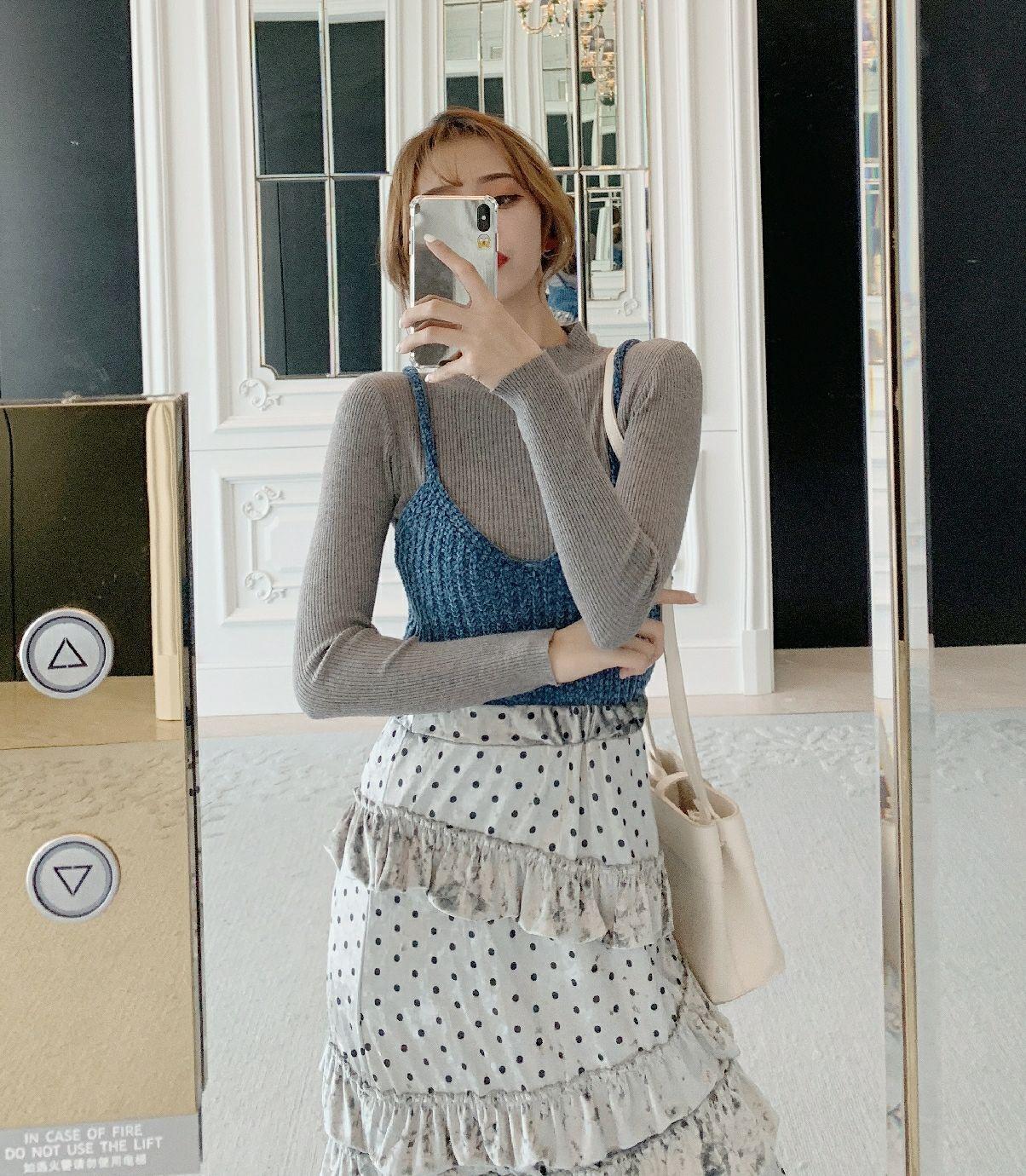 实拍 韩版高腰荷叶边A字裙+后背绑带针织吊带+针织打底衫三件套